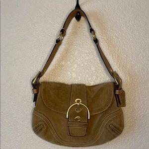 Coach Tan Suede Mini Shoulder Bag Purse